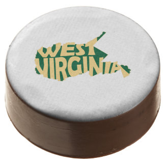 West Virginia State Name Word Art Yellow Chocolate Covered Oreo