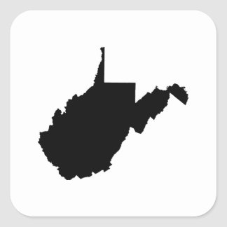West Virginia State Outline Square Sticker