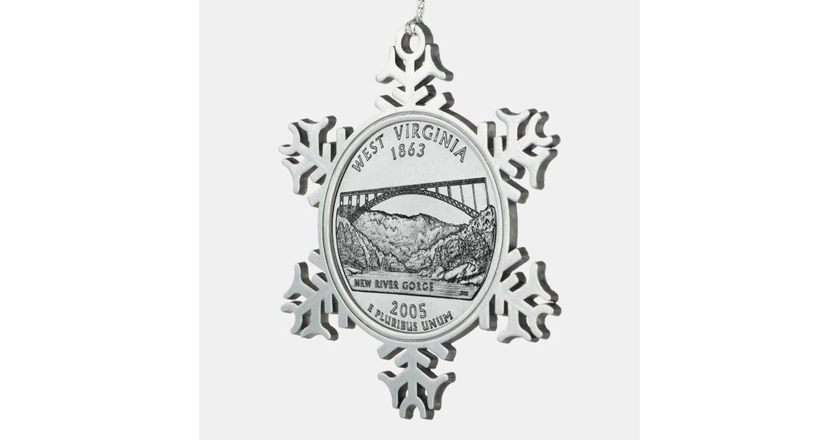 West Virginia State Quarter Snowflake Pewter Christmas