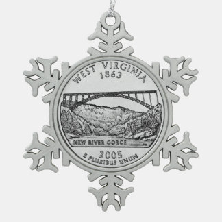 West Virginia State Quarter Snowflake Pewter Christmas Ornament