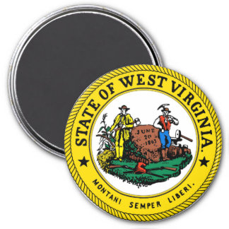West Virginia State Seal 3 Inch Round Magnet