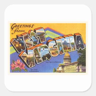 West Virginia State WV Old Vintage Travel Postcard Square Sticker