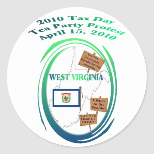 West Virginia Tax Day Tea Party Protest Classic Round Sticker
