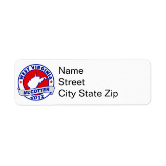 West Virginia Thad McCotter Custom Return Address Label