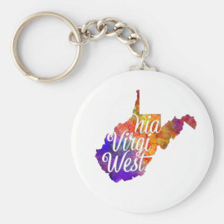 West Virginia U.S. State in watercolor text cut Keychain