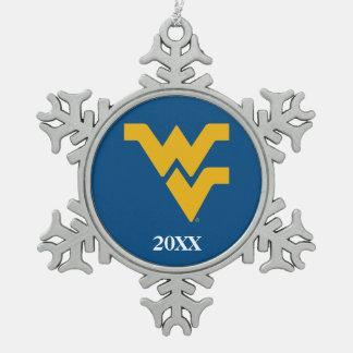 West Virginia University Snowflake Pewter Christmas Ornament