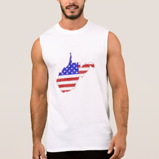 West Virginia USA flag silhouette state map Sleeveless Shirt