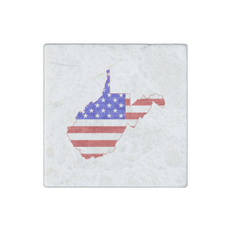 West Virginia USA flag silhouette state map Stone Magnet