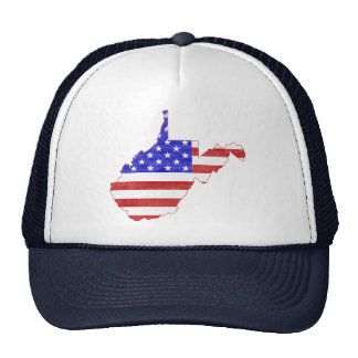 West Virginia USA flag silhouette state map Trucker Hat