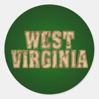 West Virginia Vintage Round Stickers
