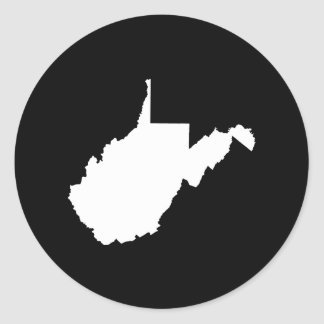 West Virginia White and Black Classic Round Sticker