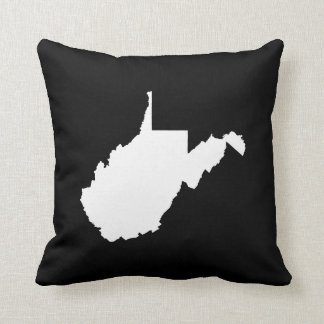 West Virginia White and Black Throw Pillow