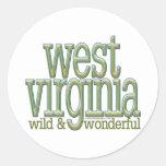 West Virginia-wild and wonderful_8 Round Sticker