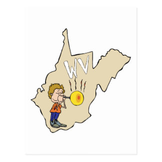West Virginia WV Map with Glass Blowing Cartoon Postcard