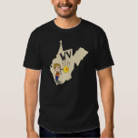 West Virginia WV Map with Glass Blowing Cartoon T Shirts