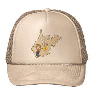 West Virginia WV Map with Glass Blowing Cartoon Trucker Hat