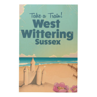 West Wittering Sussex beach vintage travel poster