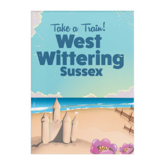 West Wittering Sussex beach vintage travel poster Acrylic Wall Art