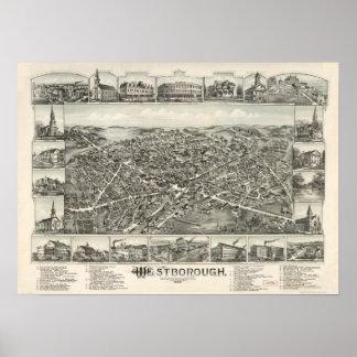 Westborough Mass. 1888 Antique Panoramic Map Poster