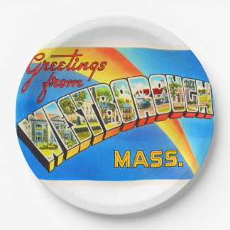 Westborough Massachusetts MA Old Travel Souvenir Paper Plate