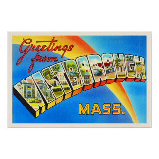 Westborough Massachusetts MA Old Travel Souvenir Poster