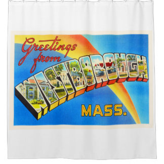 Westborough Massachusetts MA Old Travel Souvenir Shower Curtain