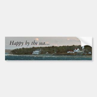 WestChopLightWinterBeach, Happy by the sea... Car Bumper Sticker