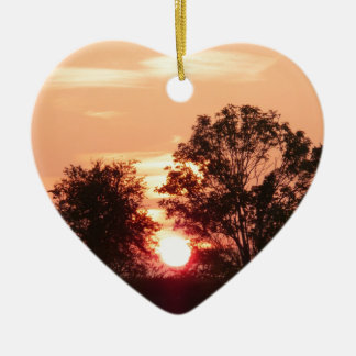 Westcountry Sunset Double-Sided Heart Ceramic Christmas Ornament