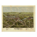 Westerly Rhode Island 1877 Antique Panoramic Map Poster
