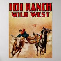 Western 101 Ranch Vintage Poster Steer Wrestler