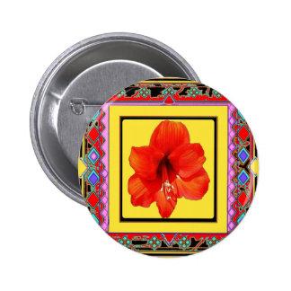 Western Amaryllis Red-Yellow Design Button