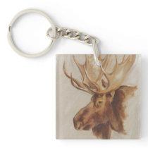 Western American Animal Study | Moose Portrait Keychain
