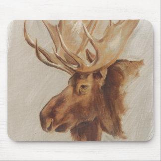 Western American Animal Study | Moose Portrait Mouse Pad