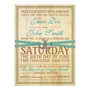 Western and Wood Wedding Invitation