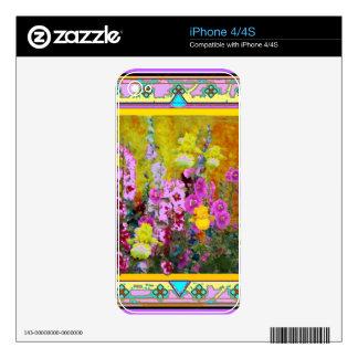 Western Art Deco Flower Garden Art Skins For iPhone 4