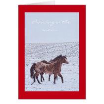 Western art horse Christmas greeting card