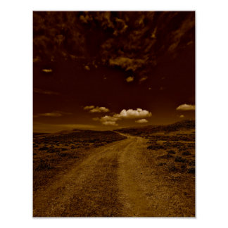 Western art poster of dirt road, two track