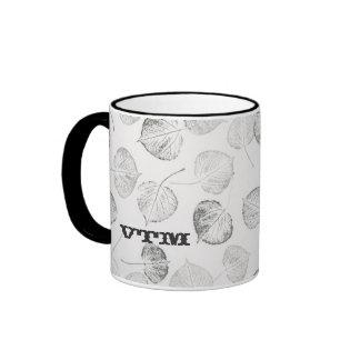 Western Aspen Leaves Monogram Ringer Coffee Mug