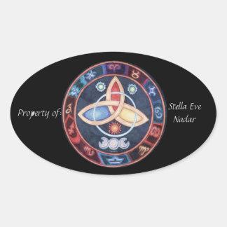 Western Astrology Wheel Bookplate Oval Sticker