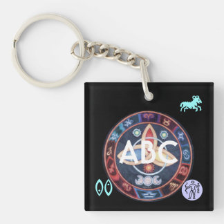 Western Astrology Wheel Sign Customizable Keychain
