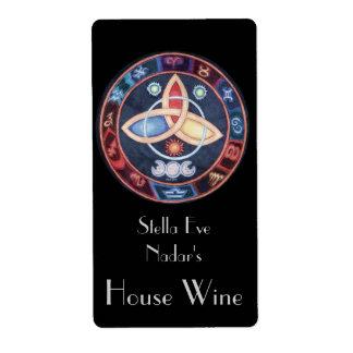 Western Astrology Wheel Wine Label (Top)