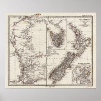 Western Australia Tasmania and New Zealand Poster