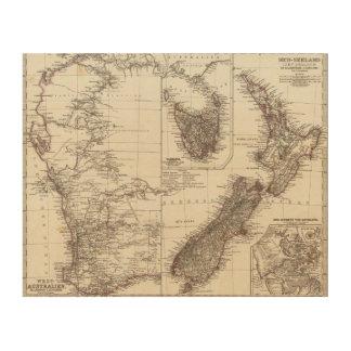 Western Australia Tasmania and New Zealand Wood Wall Art