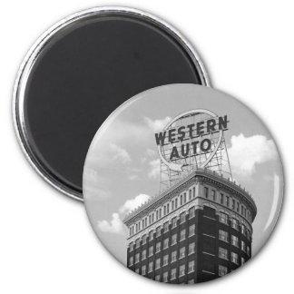 Western Auto Half Cylinder Building 2 Inch Round Magnet