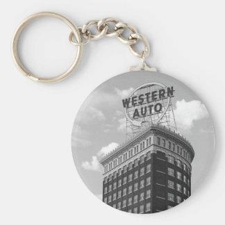 Western Auto Half Cylinder Building Basic Round Button Keychain