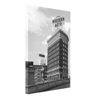 Western Auto Half Cylinder Building Canvas Print