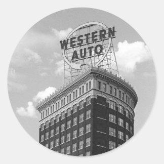 Western Auto Half Cylinder Building Classic Round Sticker