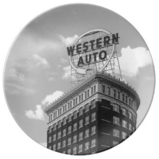 Western Auto Half Cylinder Building Dinner Plate