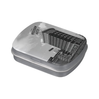 Western Auto Half Cylinder Building Jelly Belly Candy Tins