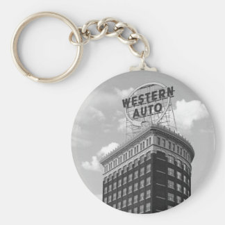 Western Auto Half Cylinder Building Keychain